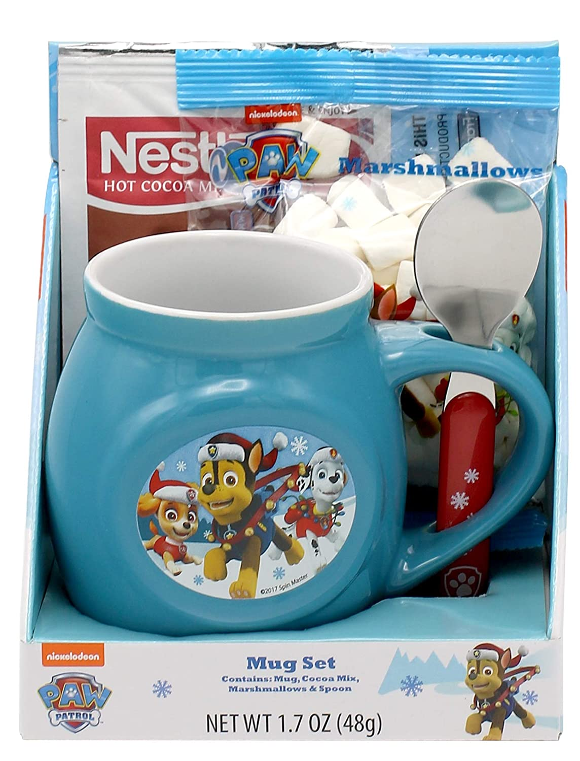 Frankford paw patrol Christmas Mug and Spoon Gift Set with Cocoa Mix and Marshmallows, 1.70 oz