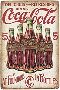 EffortLife Delicious and Refreshing Drink Coca Cola Retro Wall Decor Vintage Bar Signs Tin Sign 12 X 8 Inch