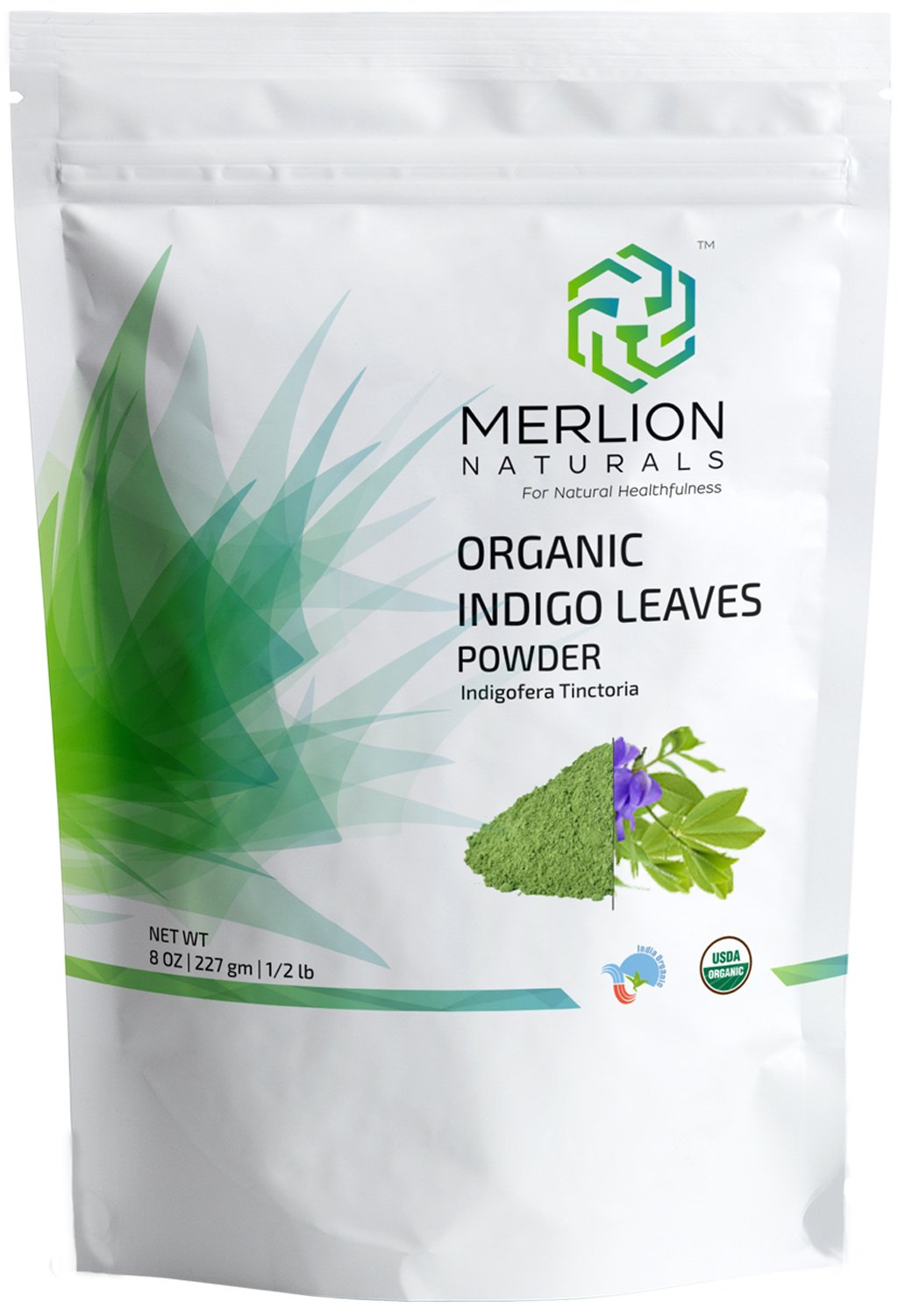 Organic Indigo Powder by MERLION NATURALS | Indigofera Tinctoria | USDA NOP Certified 100% Organic (8 OZ) by MERLION NATURALS