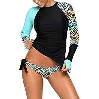 40346ca91cc5d in Women's Petite Rash Guard Shirts. #5. Aleumdr Womens Long Sleeve Vibrant  Print Side Ties Color Block Tankini Swimsuit S-XXXL
