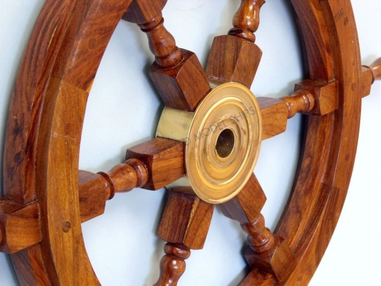 Amazon hampton nautical deluxe class wood and brass amazon hampton nautical deluxe class wood and brass decorative ship wheel 24 nautical home decoration gifts home kitchen amipublicfo Images