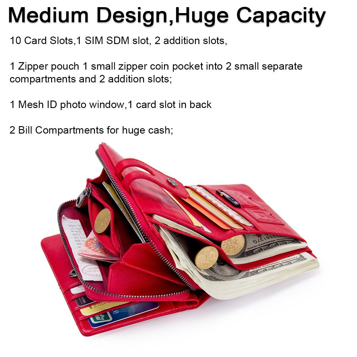 rouge Contacts Les femmes en cuir v/éritable carte didentit/é porte-monnaie embrayage sac /à main /à glissi/ère portefeuille