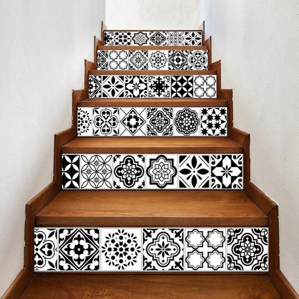 Y& M Autoadesivi della scala delle mattonelle, autoadesivi murali decorativi delle scale del corridoio 100 * 18cm * 6pcs RUNDESHEBEI