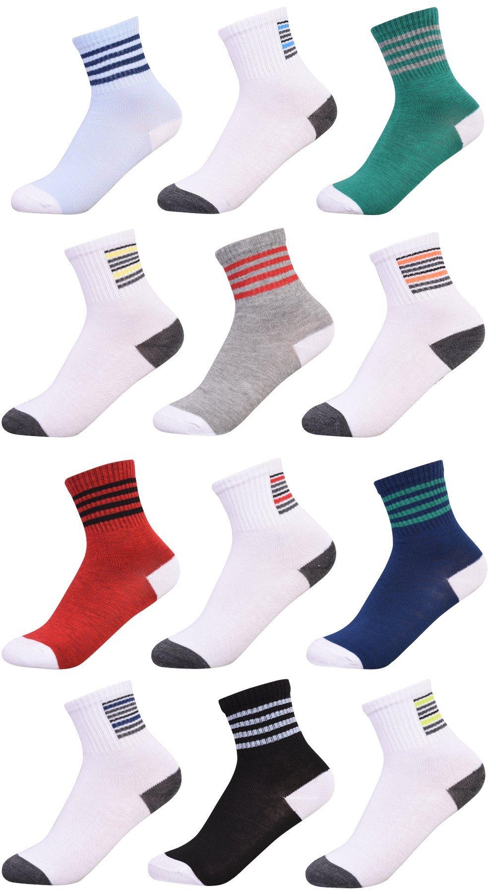 'Heelys Boys 12 Pack Crew Socks, Light Multi, Size 9-11'