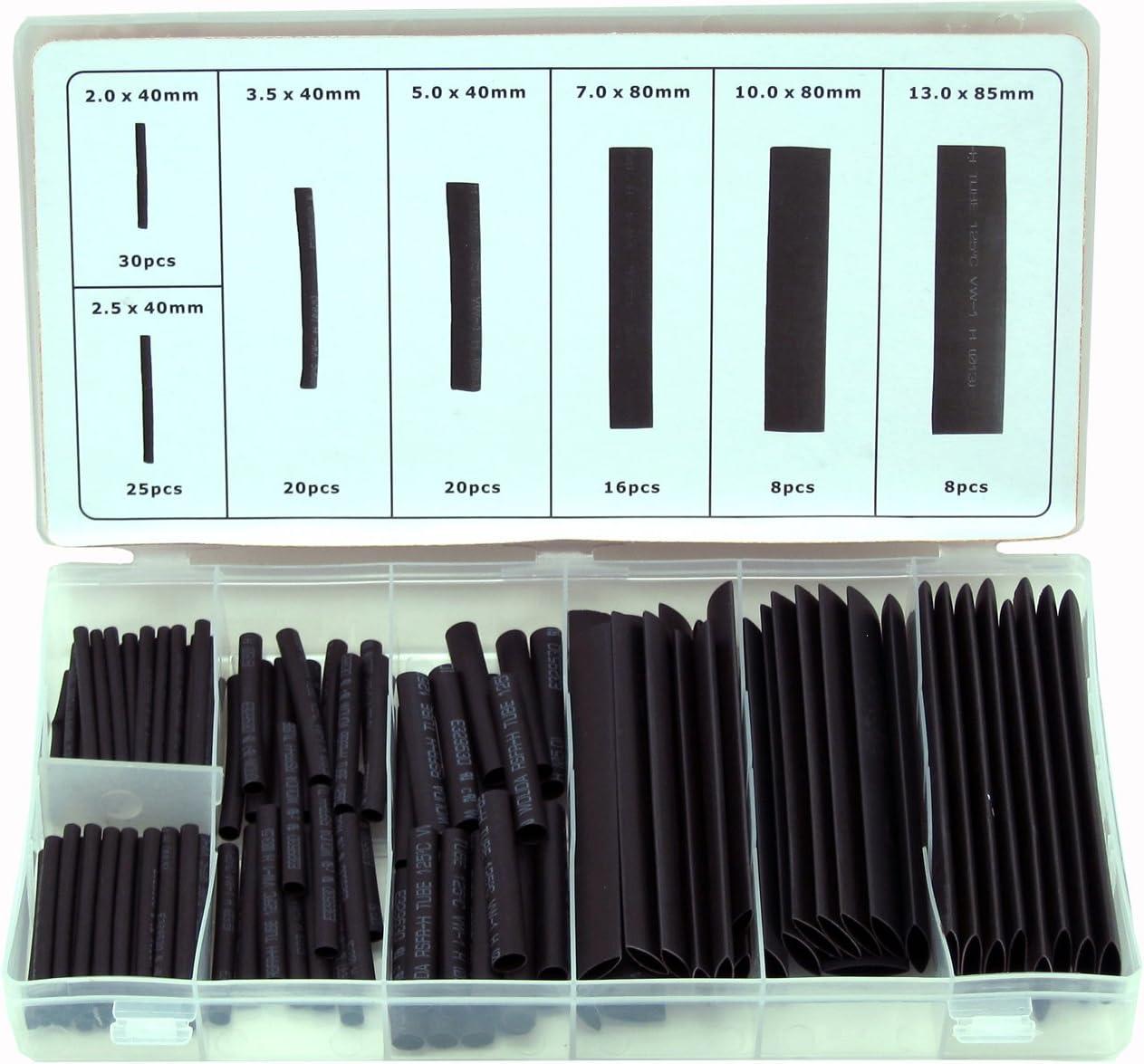 150Pcs Wire Black Case Set Heat Shrink Tubing Wrap Tube Assorted SleevJBHH