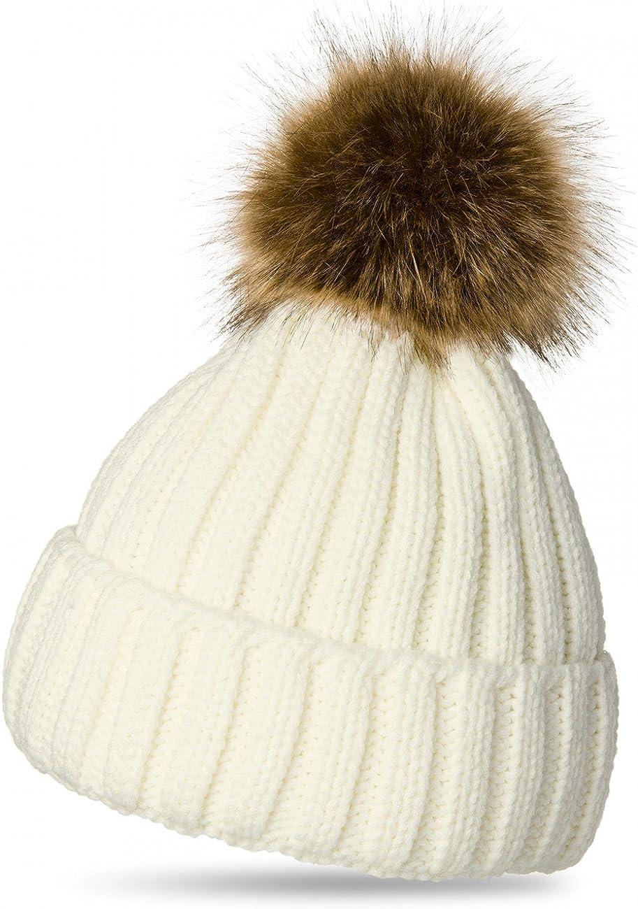 Caspar MU054 Bonnet Hiver pour Femme tricot/é avec Gros Pompon en Fausse Fourrure