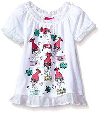 4274fac42047 Amazon.com: Dreamworks Girls' Little' Trolls Girly Graphic Tee: Clothing