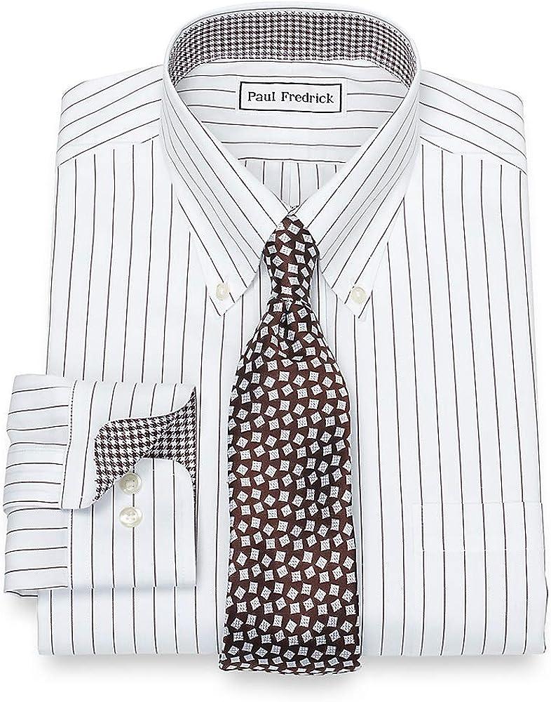 Paul Fredrick Mens Non-Iron Cotton Fine Line Stripe Button Cuff Dress Shirt