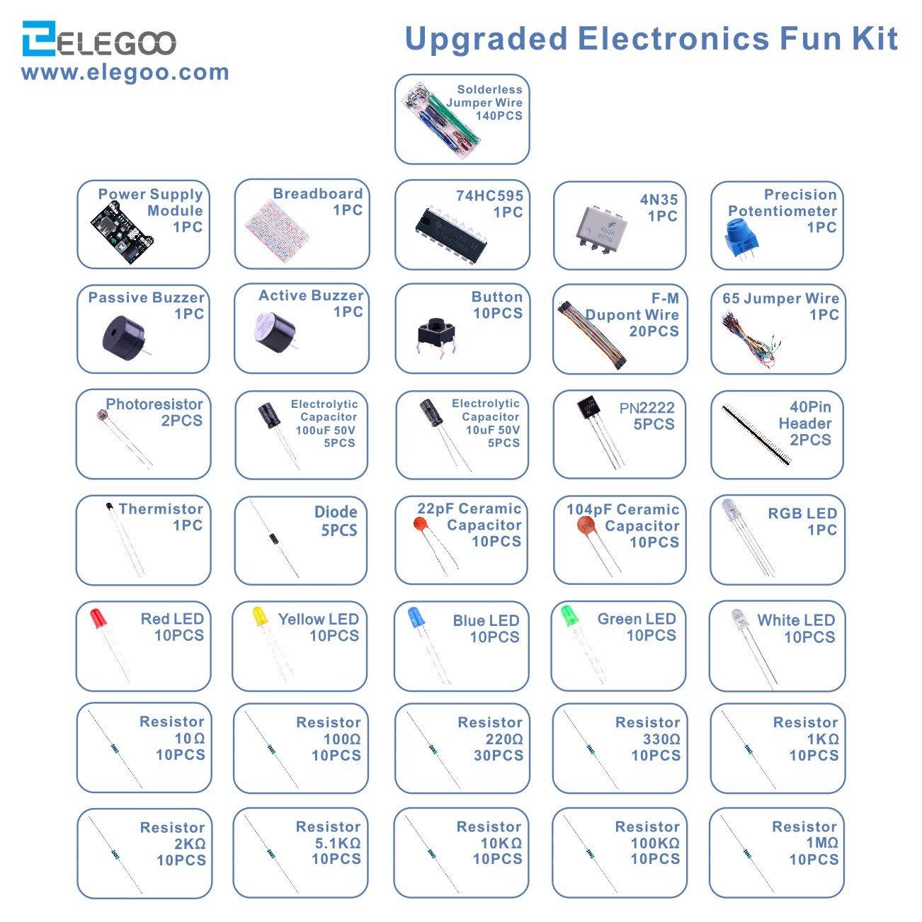 Elegoo Upgraded Electronics Fun Kit W Power Supply Breadboard With Wire Watterott Electronic Module Jumper Precision Potentiometer 830 Tie Points For Arduino