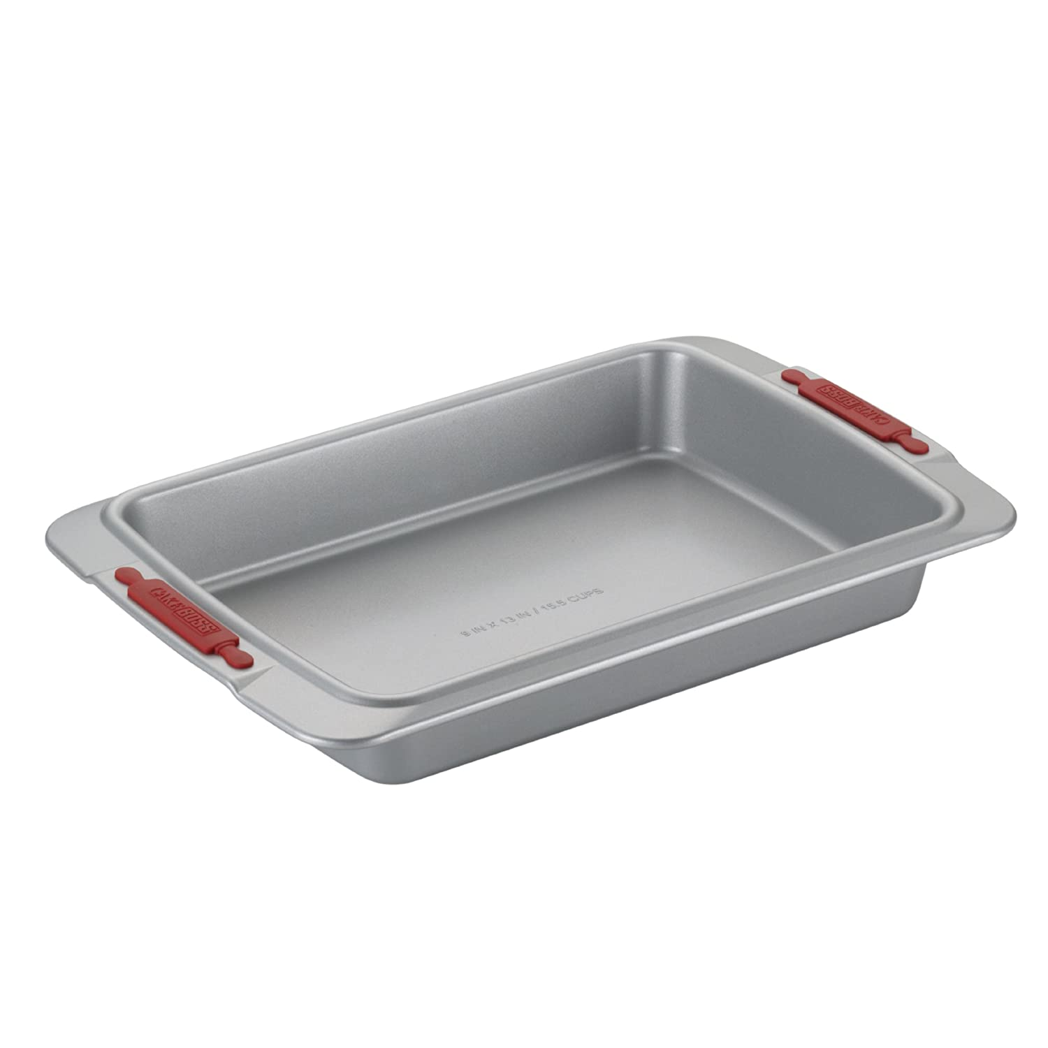 Cake Boss Deluxe Nonstick Bakeware 9-Inch by 13-Inch Cake Pan, Gray with Red Silicone Grips Meyer 59433