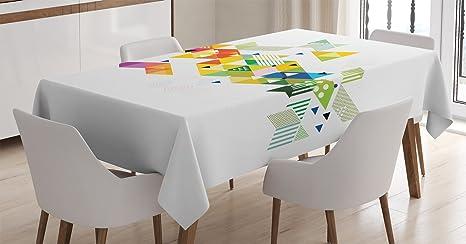 Abstract decor tovaglia by ambesonne artistico moderno cubo