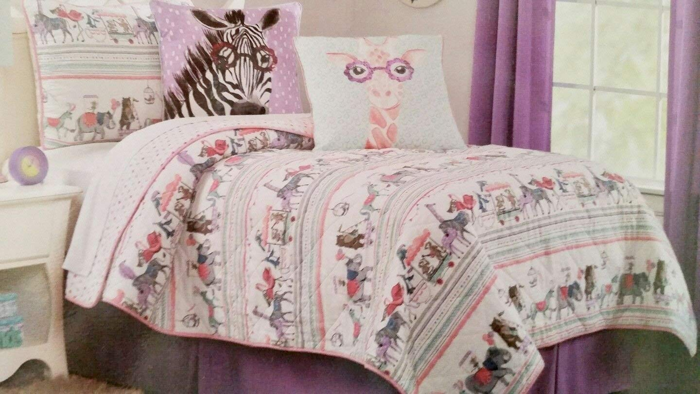Authentic Kids Animal Parade/Circus TWIN Size Quilt - elephant bear giraffe horse