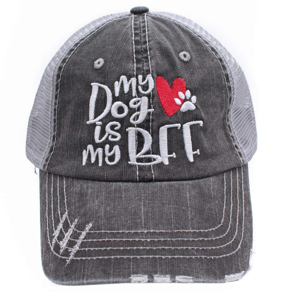 My Dog is My BFF mom Embroidered Women s Trucker Hats Caps (Red) 2dafbefe4391