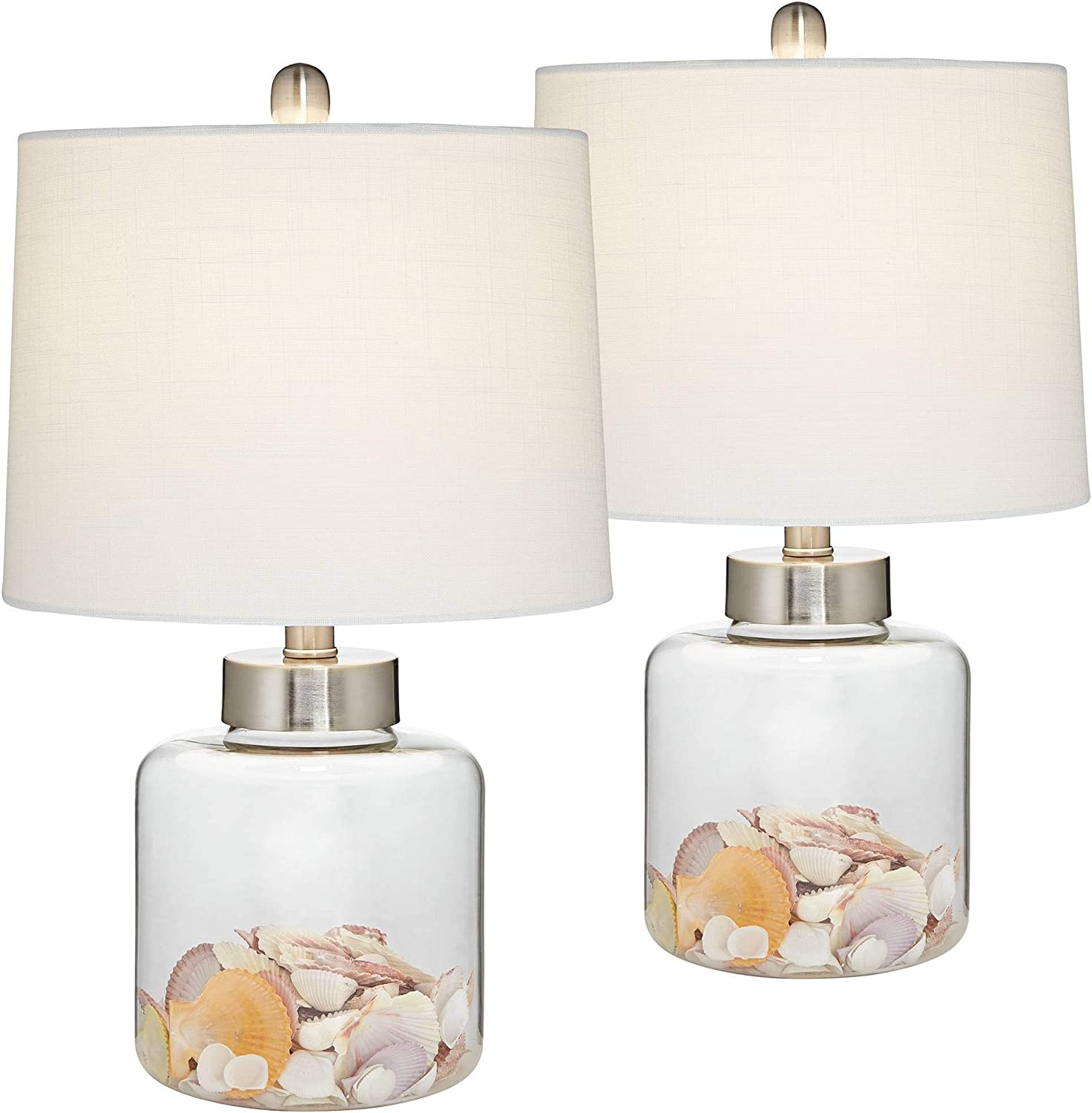 Coastal Accent Table Lamps Set of 2 Small Clear Glass Fillable Shells White Drum Shade for Living Room Family Bedroom - 360 Lighting
