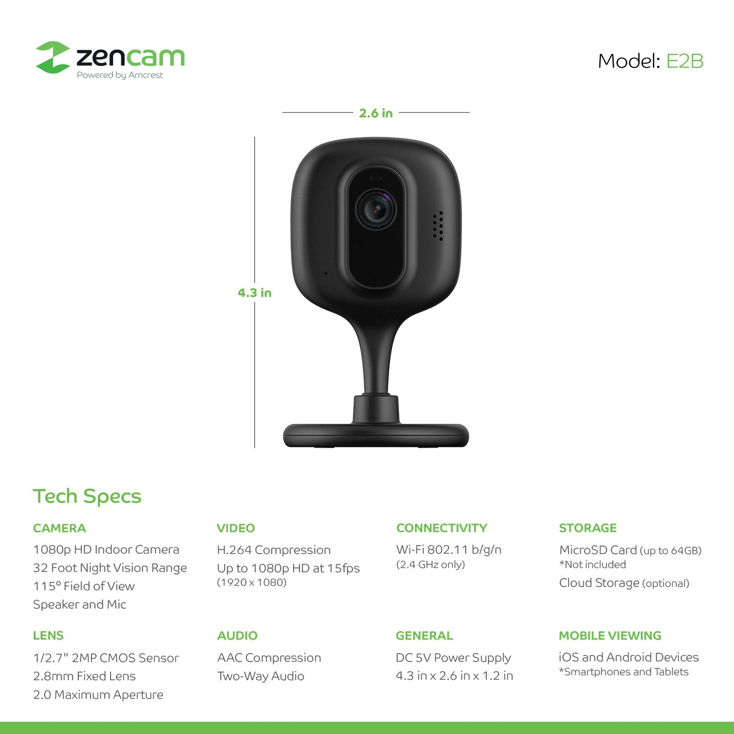 Zencam 1080p Wifi Camera Indoor Security Wireless Ip How To Build A Simpler Cmos Single Zone Alarm Two Way Talk Night Vision For Home Office Baby Pet Cam With Microsd Cloud
