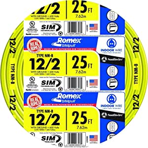 ALL LENGTHS AVAILABLE 14//2 W//GROUND ROMEX INDOOR ELECTRICAL WIRE 25/' FT