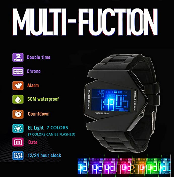 Kids Mens Digital Sport Watch Warcraft Fighter Multi Function for Kids Age Above 12 LED 50M Outdoor Waterproof Electronic Analog Quartz Silicone Wrist ...