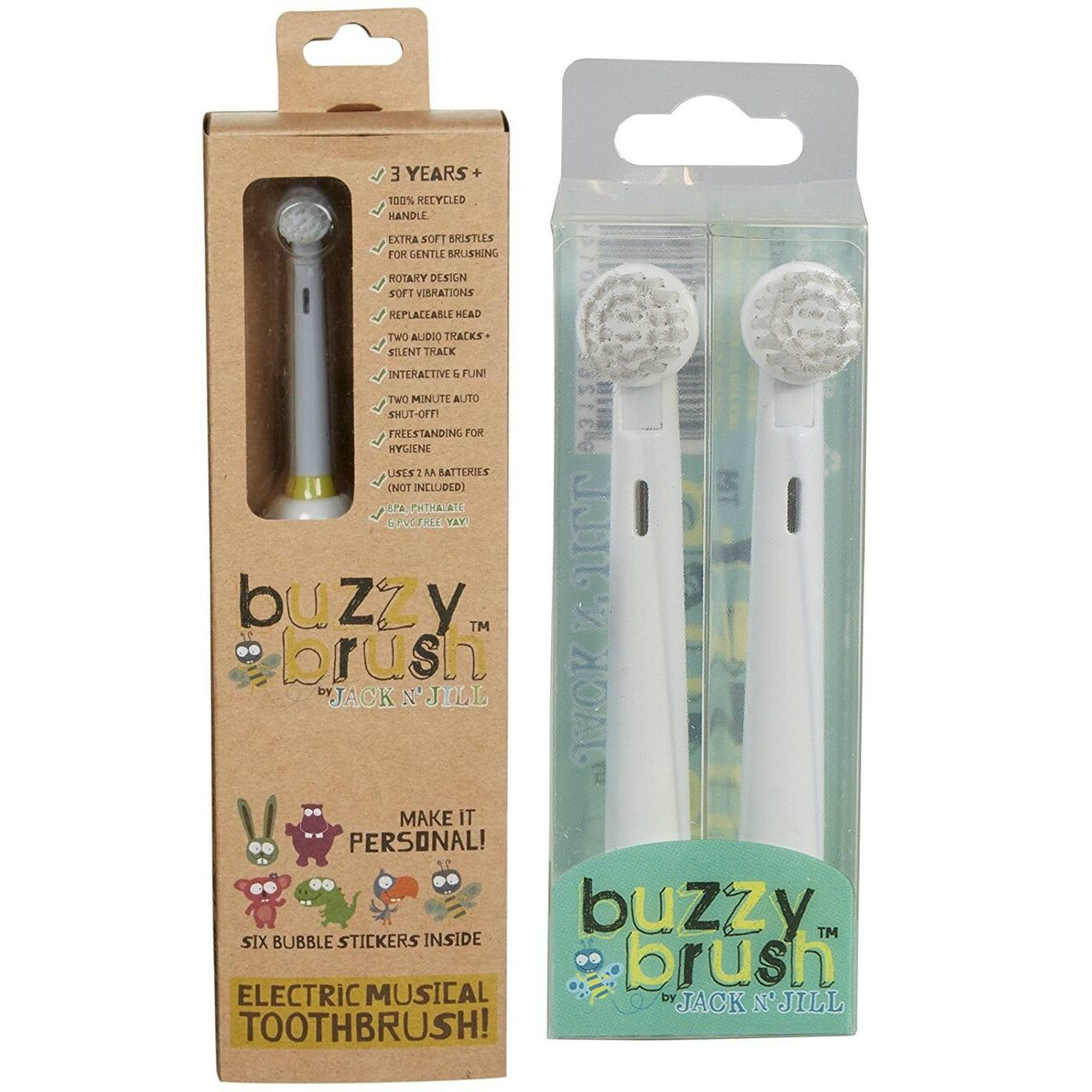 Jack N Jill Childrens Buzzy Brush Electric Musical Toothbrush with Replacement Heads , Ages 3+, White
