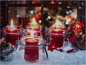 """NIKKY HOME 16"""" X 12"""" Christmas LED Lighted Canvas Wall Art Prints with Jar Candle Holder Picture for Holiday Decor"""