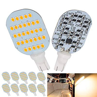 1voi Super Bright T10 921 194 LED Bulbs 31-SMD for RV Indoor Lights Warm White Interior Dome Light Pack of 10: Automotive