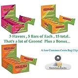 Larabar Gluten Free Bar, Fruits + Greens, 15 Bars Variety Pack, 5 of each, 1.24oz Bars