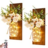 Rustic Wall Sconces Mason Jar Sconces Handmade Wall Art Hanging Design with Remote Control LED Fairy Lights and White Peony,F