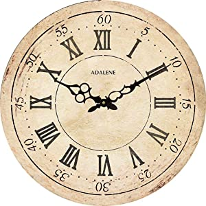 Adalene Extra Large Wall Clock 24 Inch - Wooden Wall Clocks for Living Room Décor Farmhouse Wall Clock Silent, Big Huge Retro Vintage Rustic Oversized Wood Wall Clocks Battery Operated Decorative