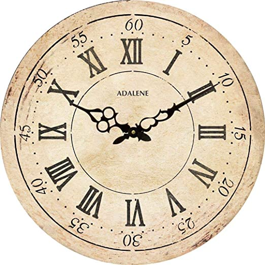 Amazon Com Adalene Extra Large Wall Clock 24 Inch Wooden Wall Clocks For Living Room Decor Farmhouse Wall Clock Silent Big Huge Retro Vintage Rustic Oversized Wood Wall Clocks Battery Operated Decorative