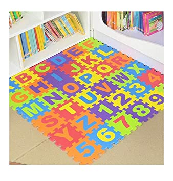 Aarya Enterprises Play Puzzle Foam Mat with 36 Tiles Educational Interlocking Toys for Kids
