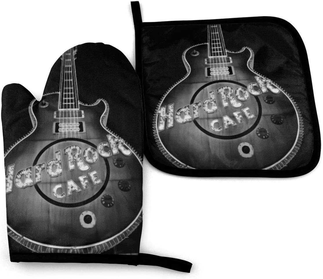 Cuisson N\A Hard Rock Cafe Las Vegas Mitaines de Cuisine et Porte-casseroles Cuisson Grillage r/ésistant /à la Chaleur /à 356 degr/és Fahrenheit Gants de Four de Cuisine pour Barbecue Cuisson