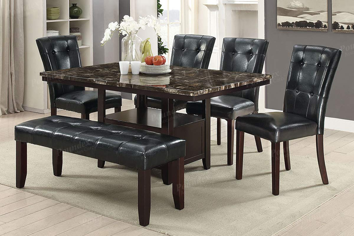 Modern Black Faux Leather Dining Bench with Solid Rubber Wood Frame