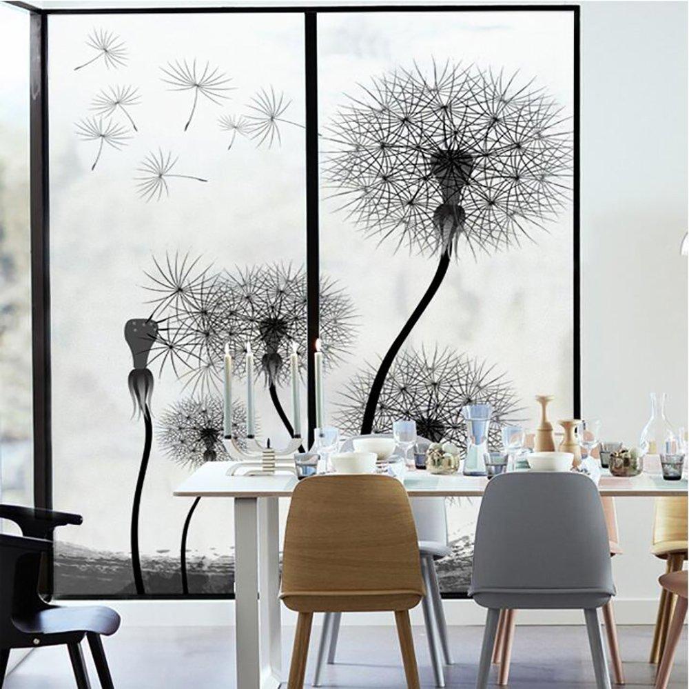 YQ WHJB No glue Static decorative films,Frosted privacy window film,Glass Dandelion Reusable Window decal Sticker-A 45x60cm(18x24inch)