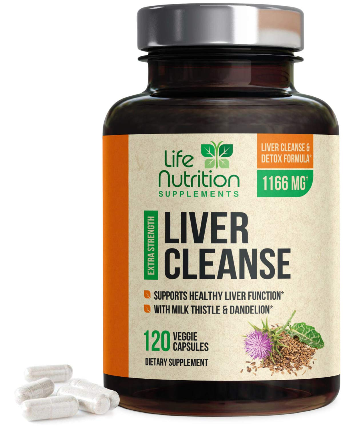 Liver Cleanse Detox & Repair Formula 1166mg - Highest Potency 22 Herbs, Made in USA, Milk Thistle Extract, Silymarin, Beet, Artichoke, Dandelion, Chicory, Support Supplement - 120 Capsules by Life Nutrition