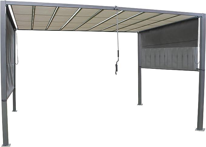 Pérgola de láminas Leco de alta calidad de color antracita y gris claro. Estructura de acero resistente con tejado de tela, 370 x 295 x 245 cm, incluye toldos laterales, manivela para