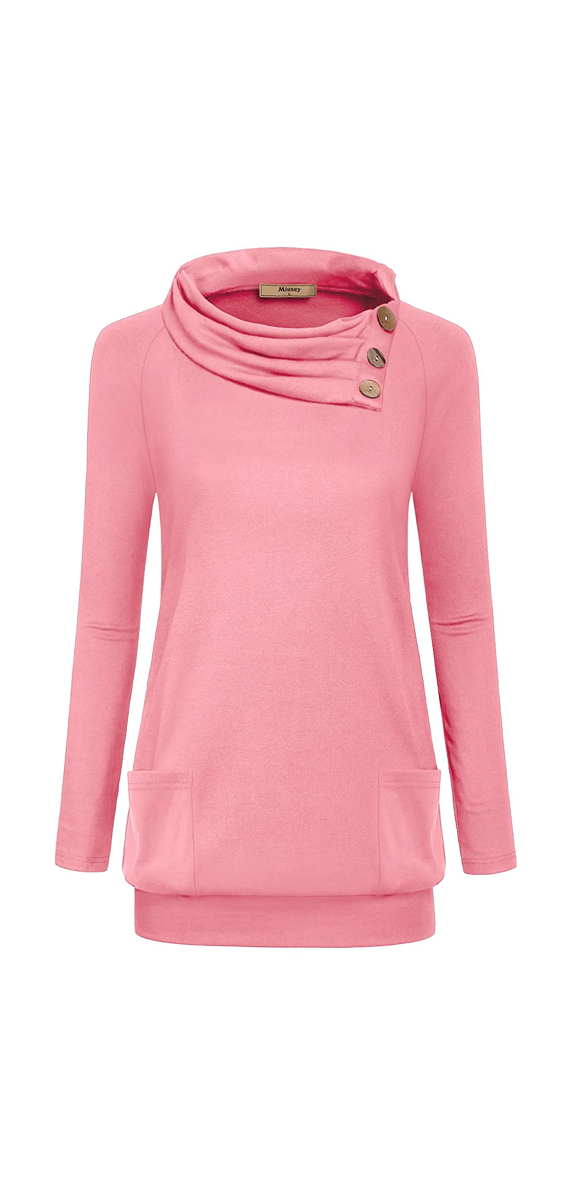 Womens Raglan Long Sleeve Cowl Neck Pullover Casual Tunic