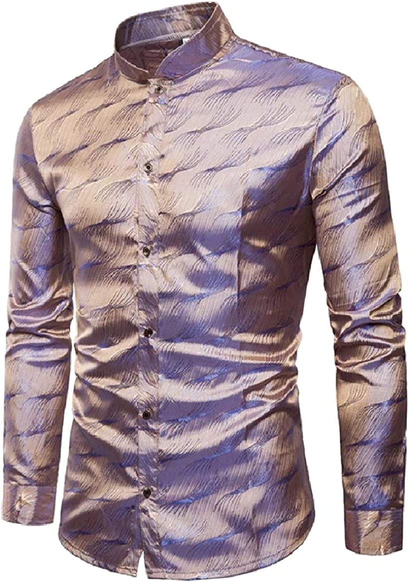 Tootless-Men Fashion Stand Collar Button Shiny Nightclub Shirt Blouse Tops
