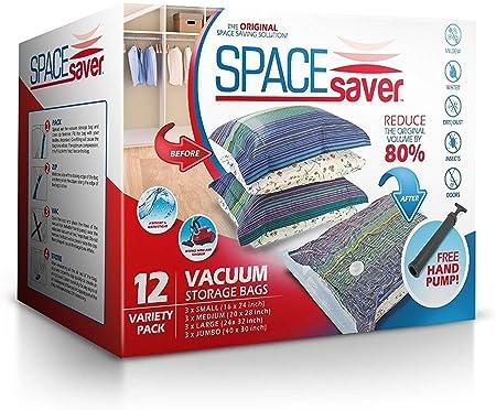 SpaceSaver Ahorro de Espacio Premium de Bolsas al vacío, Pack de múltiples (3 x Pequeño, Mediano, Grande y Extragrande), 80% más de Espacio Que Otras ...