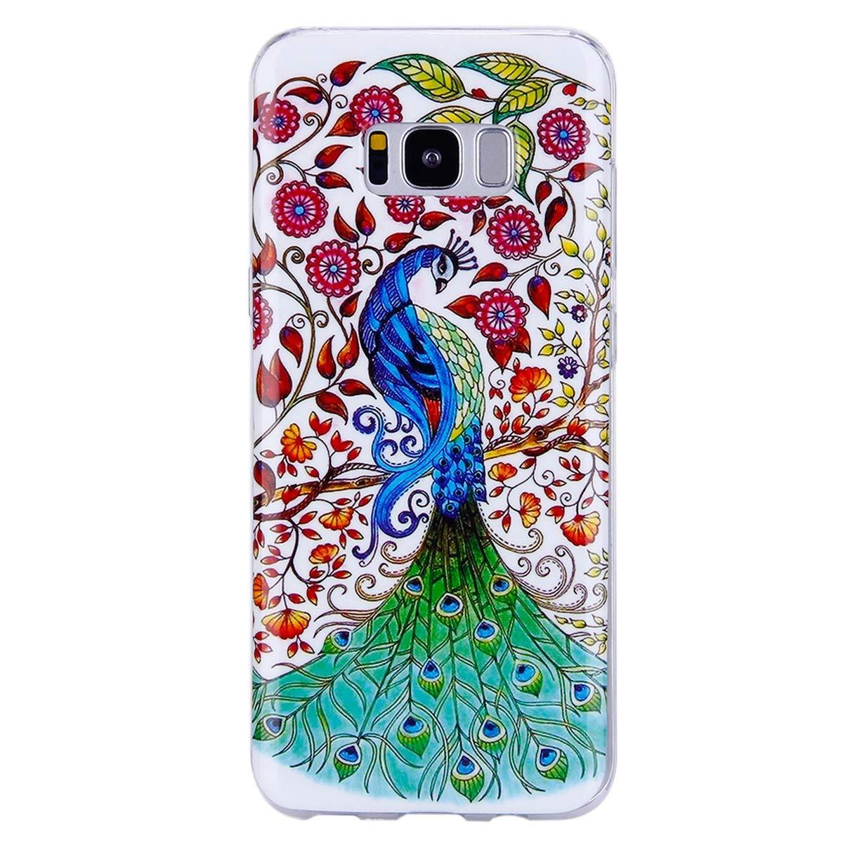 Ekakashop Moda Nottilucenti Luminous Luce Design Creativo del Colorato Painting TPU Morbido Silicone Gomma Custodia Compatibile con Galaxy S8 Plus,Gufo
