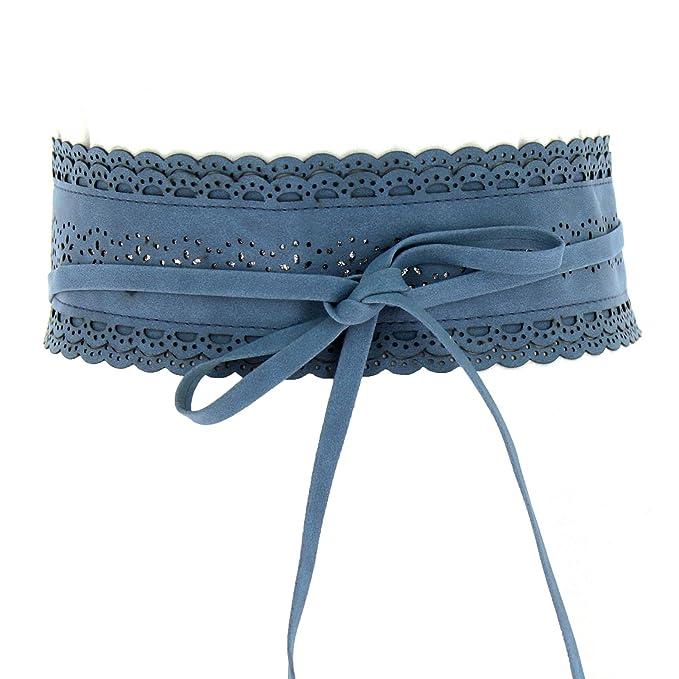 Fashiongen - Obi Ancho Cinturón con Paillettes FELIPA - Azul, Talla única