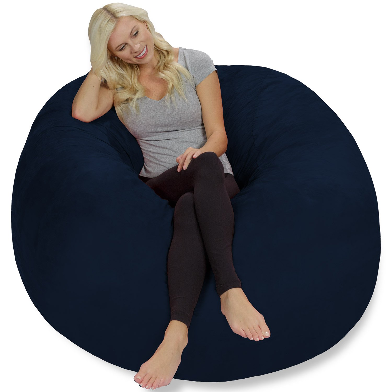 Chill Sack Bean Bag Chair Giant 5 Memory Foam Furniture Bean Bag – Big Sofa with Soft Micro Fiber Cover – Navy