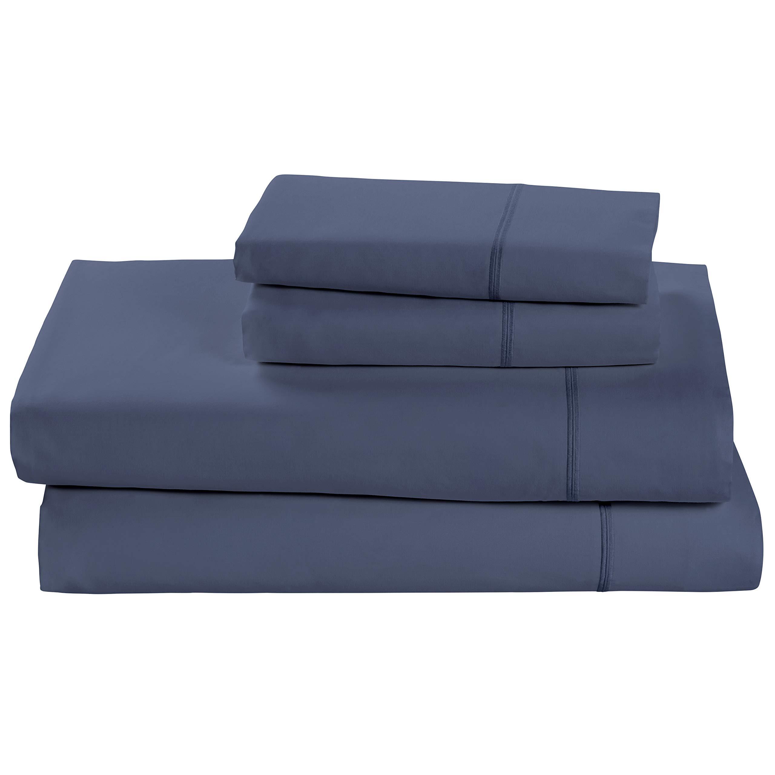 Rivet Soft 100% Percale Cotton Bed Sheet Set, Easy Care, Queen, Denim Blue