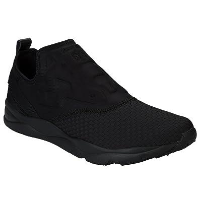 Black Reebok Mens Furylite Slip On Woven Weave Trainers - Size   UK4 ... c85871e8d