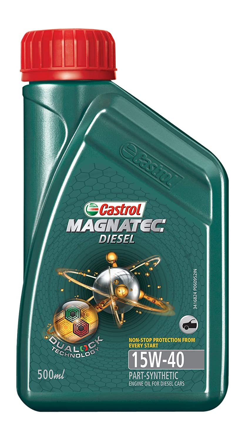Castrol MAGNATEC Diesel 15W-40 API SN Part-Synthetic Engine Oil for Diesel Cars (0.5 L) (2021/8K)
