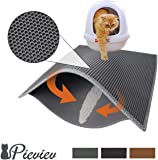 """Pieviev Cat Litter Box Mat Litter Trapper of Jumbo Size 30"""" X 24"""", Honeycomb Double-Layer Design Waterproof Urine Proof Material, Easy Clean and Floor Carpet Protection (Light Grey)"""