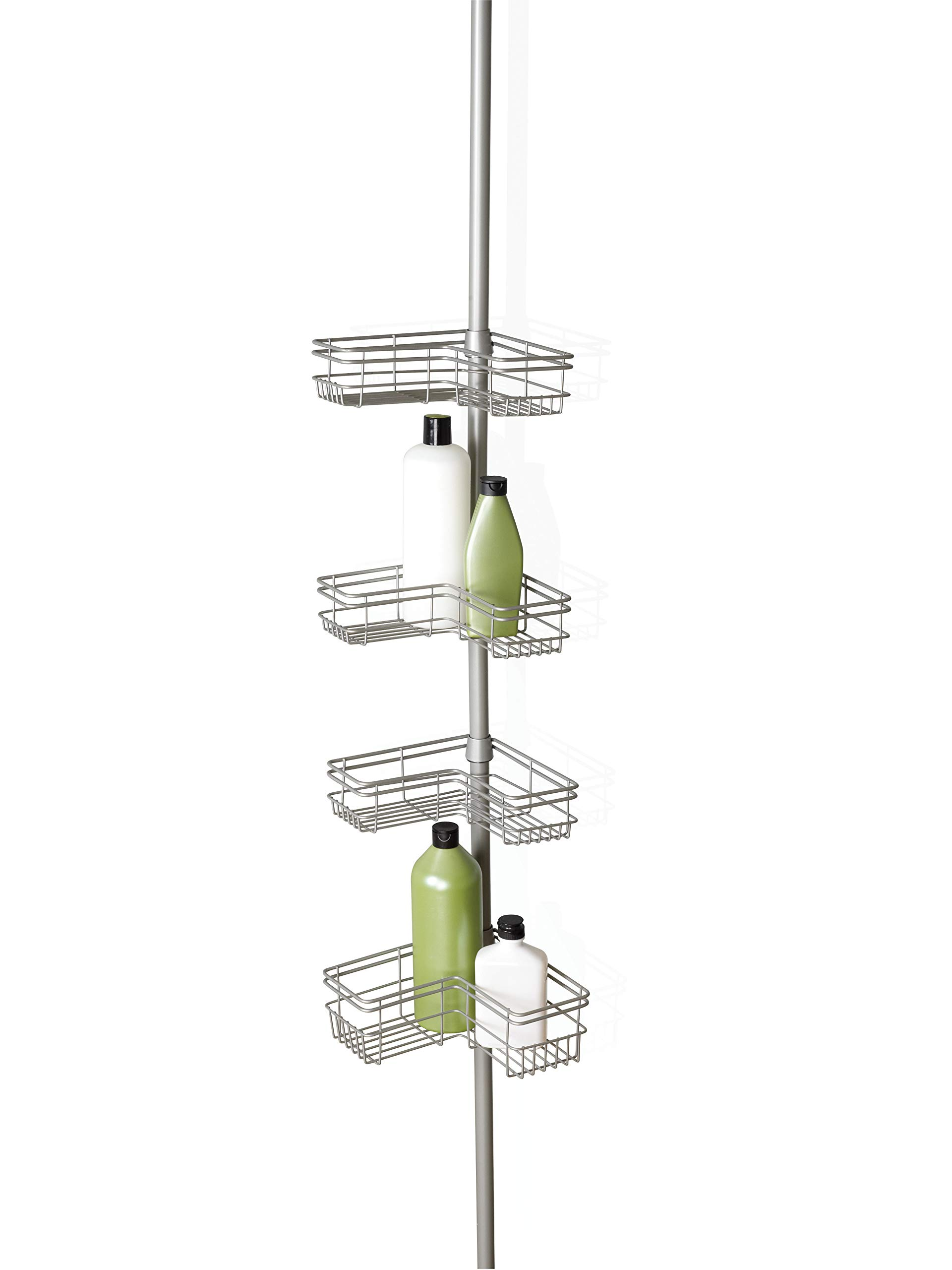 Satin Nickel NEW Shower Corner Pole Caddy Shelf Organizer Bath Storage Bathroom