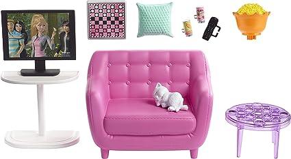 Barbie FXG36 set di mobili per interni Multicolore salotto con gattino