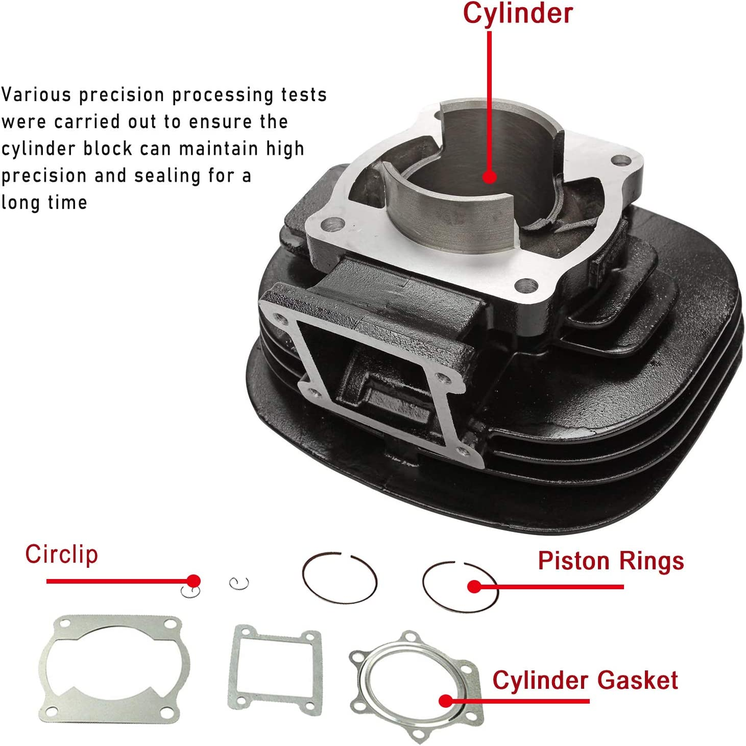 yjracing Cylinder Carburetor Piston Gasket Top End Kit Set Fit for 1988-2006 Yamaha Blaster 200 YFS200