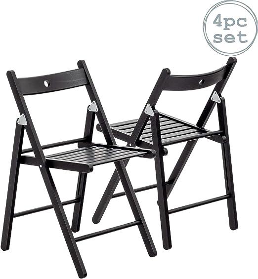 Silla plegable - Madera - Negro - Pack de 4: Amazon.es: Hogar