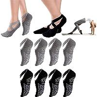 Manricle 4pairs Calcetines-Yoga, Calcetines de Yoga para Mujeres, para Deportes de Interior, cómodas Pilates, Yoga, Ballet, Danza, Fitness(Negro y Gris)