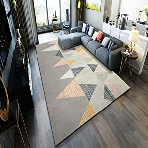 QUD Taupe Carpet, Geometric Patterns Kitchen Rug Distressed Area Rug Bedroom Living Room Classic Stylish Mat 6/11 (Color : C, Size : 80x120cm)